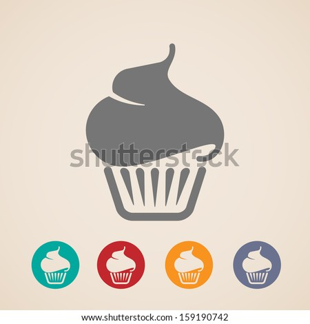 vector cupcake icons - stock vector