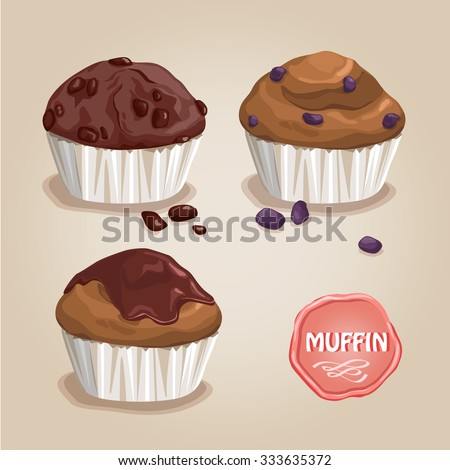 vector .cupcake, muffins , with raisins and chocolate - stock vector