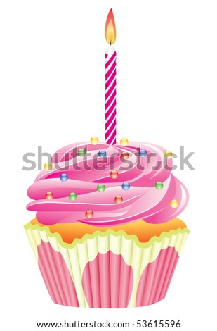 vector cupcake with burning candle and shiny sprinkles