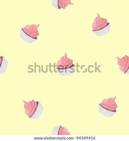 Vector cupcakes pattern - stock vector