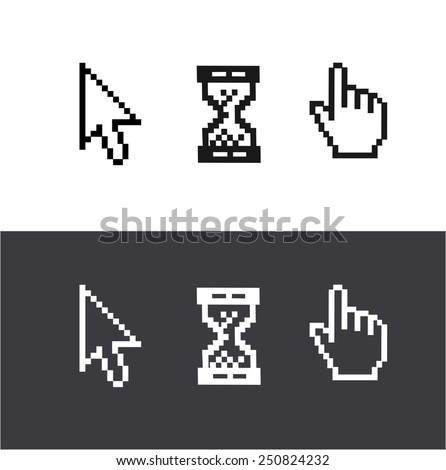 Vector cursors set isolated on white and black background. Arrow, clock, hand.