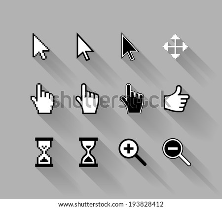vector cursors with long shadows, white on gray background - stock vector