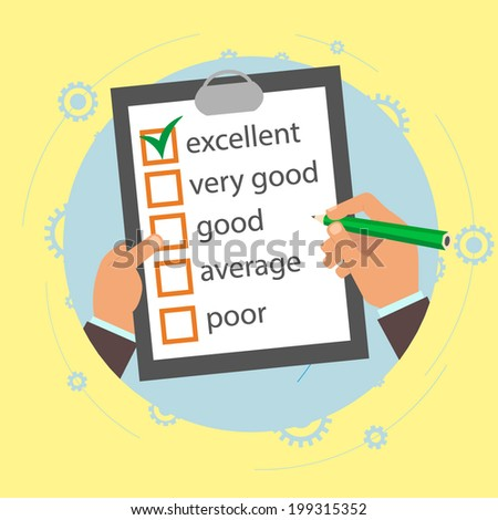 Vector customer feedback concept in flat style - hand checking excellent mark in a survey. - stock vector