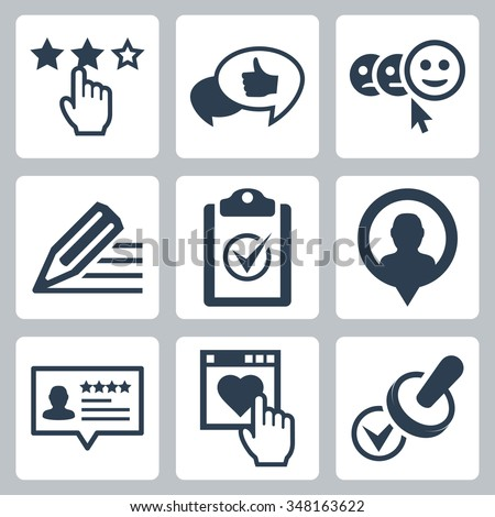 Vector customer testimonials icon set - stock vector