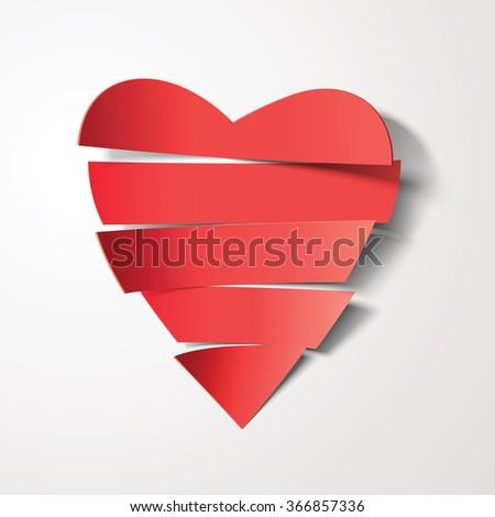 vector cut paper heart - stock vector