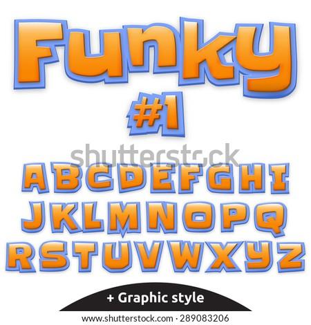 Vector cute alphabet for children in cartoon style - stock vector