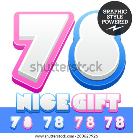 Vector cute alphabet for children. Nice white with blue  or pink letters and numbers for boys and girls. Numbers 7 8 - stock vector