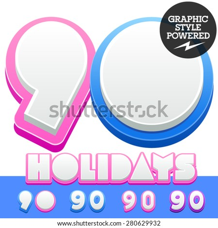 Vector cute alphabet for children. Nice white with blue  or pink letters and numbers for boys and girls. Numbers 9 0 - stock vector