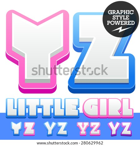 Vector cute alphabet for children. Nice white with blue  or pink letters and numbers for boys and girls. Letters Y Z - stock vector