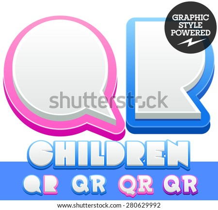 Vector cute alphabet for children. Nice white with blue  or pink letters and numbers for boys and girls. Letters Q R - stock vector