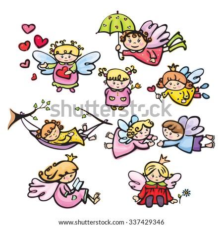 Vector cute angels cartoons. - stock vector