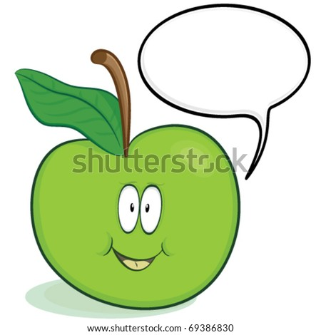 Vector cute apple cartoon character with optional blank speech bubble.