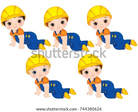 Vector cute baby boys dressed as little builders. Vector baby boy. Baby boys vector illustration