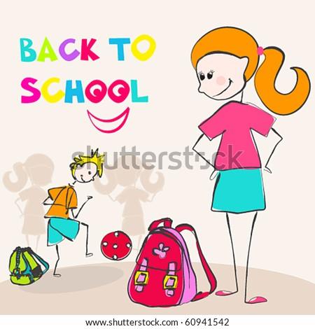 Vector cute back to school illustration - stock vector
