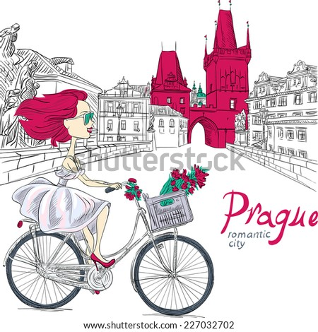 Vector Cute beautiful fashionable girl in  white dress rides a bike in Prague - stock vector