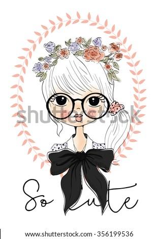 Vector Cute beautiful fashionable girl / romantic girl / design for children's books / cute girl / Beautiful girl / T-shirt Graphics / girl vector / illustration princess girl - stock vector