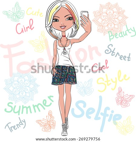 Vector Cute beautiful fashionable hipster girl makes selfie  - stock vector