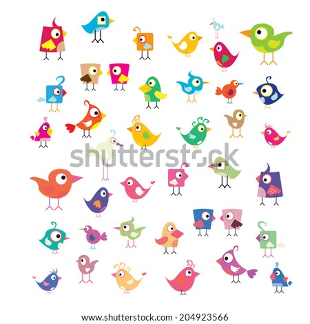 vector cute birds set - stock vector