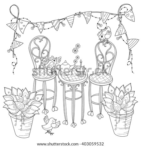 Vector cute birthday  tea time .Vector line illustration.Sketch  coloring adult book.Boho style hand drawn doodle.Terassa, chairs, table, teapot, pie, plants in pots, birds, tea time, light garland - stock vector
