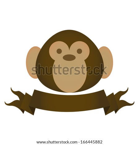 Vector Cute Brown Monkey Head With A Ribbon