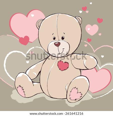 vector cute cartoon childish hand drawn teddy bear toy illustration with hearts - stock vector