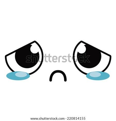 vector cute cartoon crying face editable stock vector 2018 rh shutterstock com crying cartoon face pic crying cartoon face pic