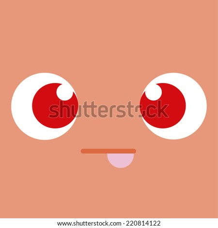 Vector Cute Cartoon Face With Tongue Out - stock vector