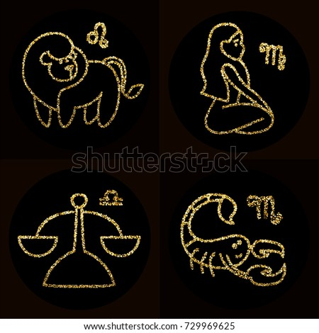 Vector Cute Cartoon Golden Glitter Line Stock Vector 729969625