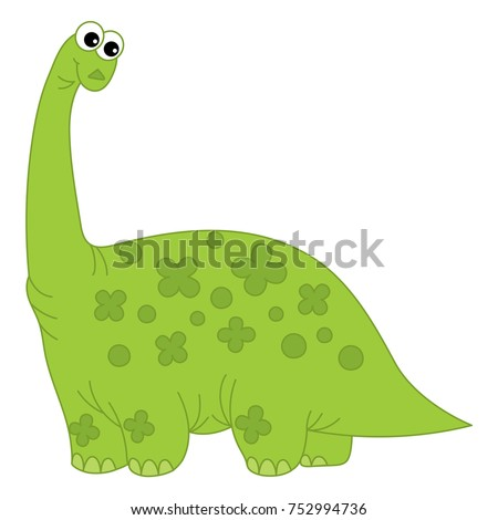 Vector cute cartoon green dinosaur with long neck. Vector dino. Dinosaur vector illustration
