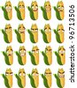 Vector cute cartoon maize smile with many expressions - stock vector