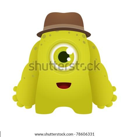Vector Cute Cartoon Monster - stock vector