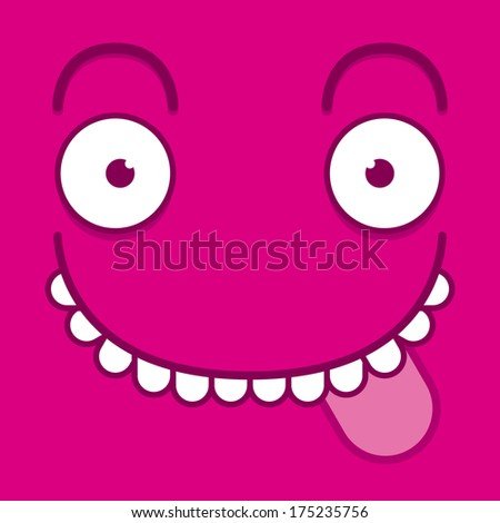 Vector Cute Cartoon Pink Face With Tongue Out - stock vector