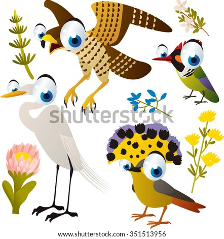 vector cute cartoon set of comic animals: falcon, flycatcher, egret, hummingbird. useful for kids mobile apps, flash card games, invitations, wall decor and other - stock vector