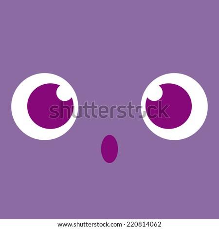Vector Cute Cartoon Surprised Face Editable - stock vector