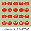 Vector cute cartoon tomato smile with many expressions icons - stock vector