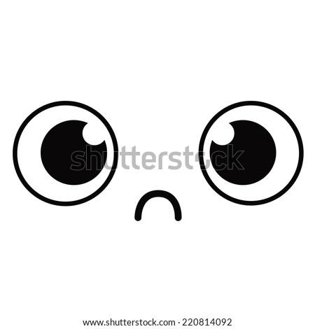Vector Cute Cartoon Unhappy Face Editable - stock vector