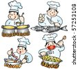 Vector cute chef cooking. These illustrations are in layer and are easy to edit color. All Elements can be used and edited separately. - stock vector