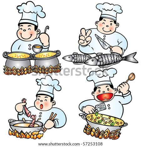 Vector cute chef cooking. These illustrations are in layer and are easy to edit color. All Elements can be used and edited separately.