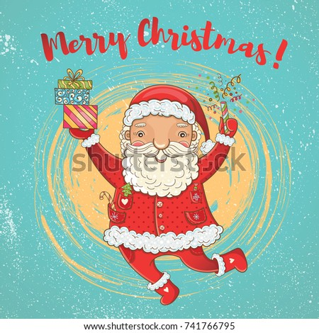 Vector Cute Christmas Card Funny Happy Stock Photo (Photo, Vector ...