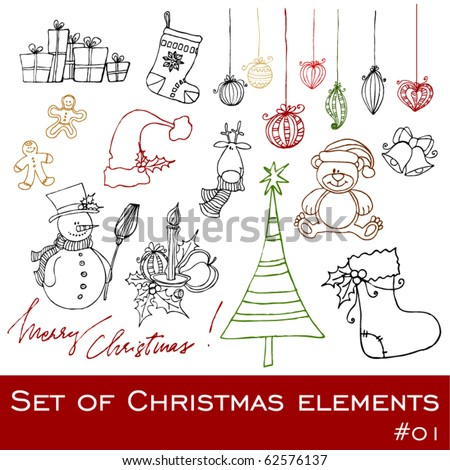 vector cute Christmas elements - stock vector