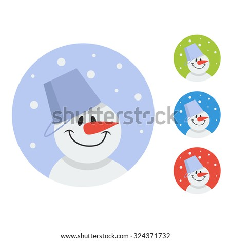 Vector Cute Christmas greeting card with snowman