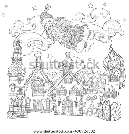 Vector Cute Christmas Santa Claus Doodle In Fairy Europe TownHand Drawn Line Illustration