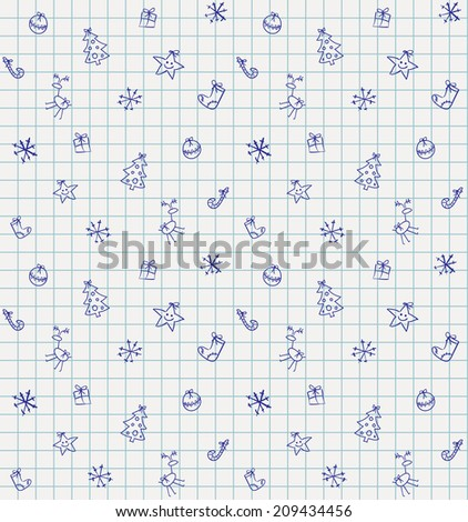 Vector cute Christmas seamless pattern on checked school paper drawn by ballpoint pen ink blue, back to school background - stock vector