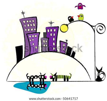 Vector cute city by night - stock vector