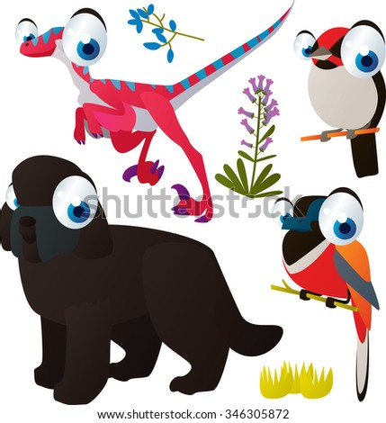 vector cute comic cartoon animals set for book or app or cards or banner or sticker illustration: dinosaur, dog, birds - stock vector