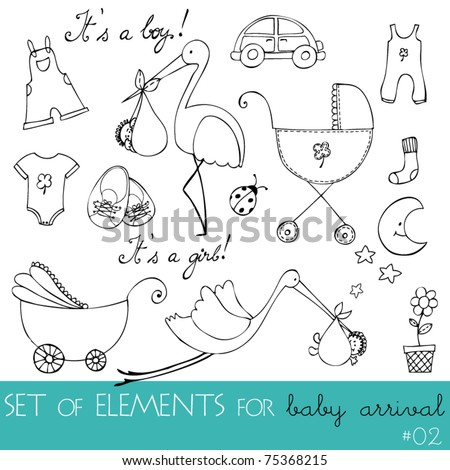 vector cute design elements for baby arrival card - stock vector