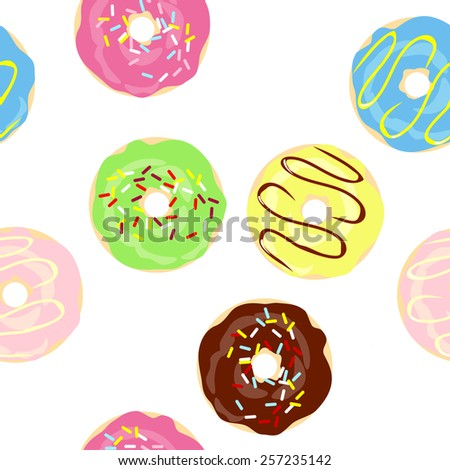 Vector Cute Donuts with colorful glazing. Seamless pattern - stock vector