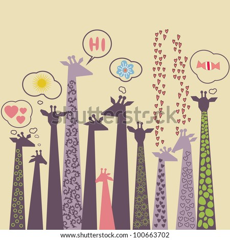 Vector cute  drawn style giraffes illustration - stock vector