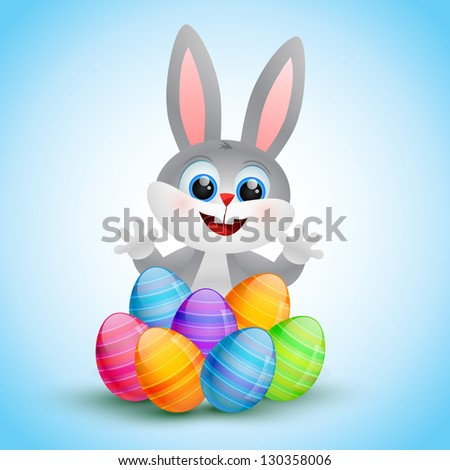 vector cute easter bunny illustration - stock vector