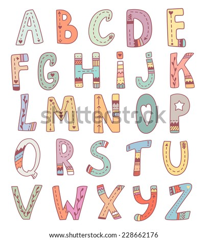 Vector cute english alphabet. Funny tribal hand drawn letters for children education - stock vector